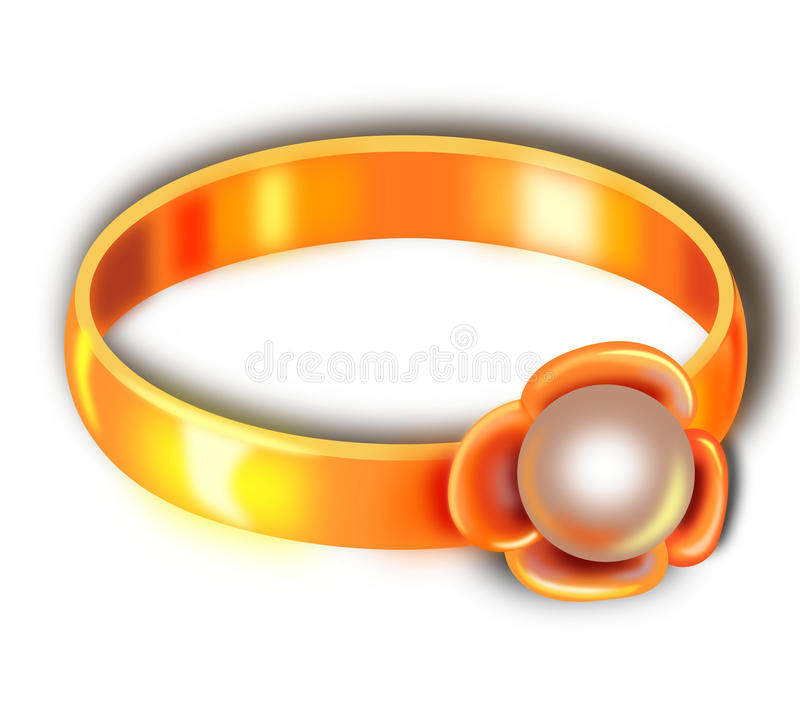 Ring with pearl vector illustration