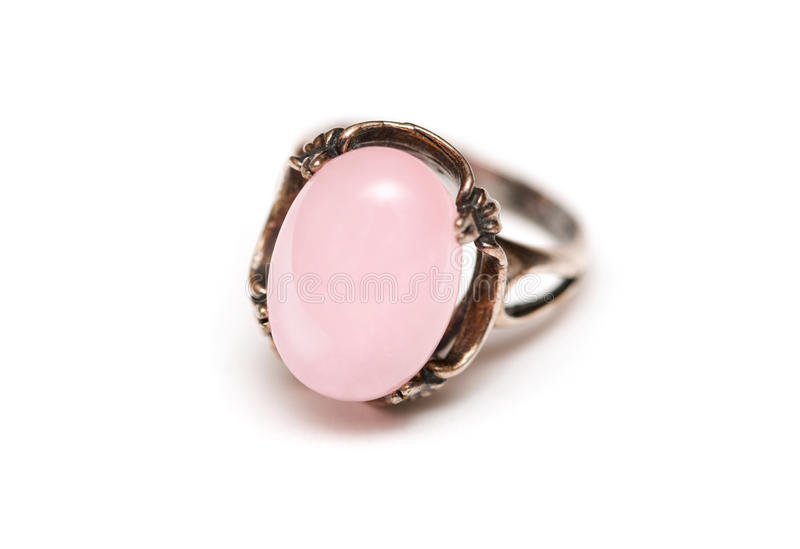 Ring with a pink stone royalty free stock photos
