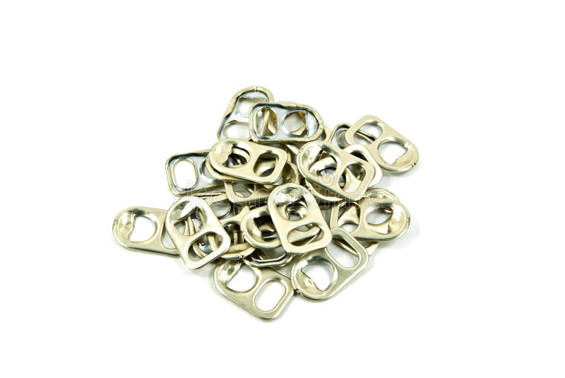 Ring pulls of aluminum can. A ring pulls of aluminum can royalty free stock photo