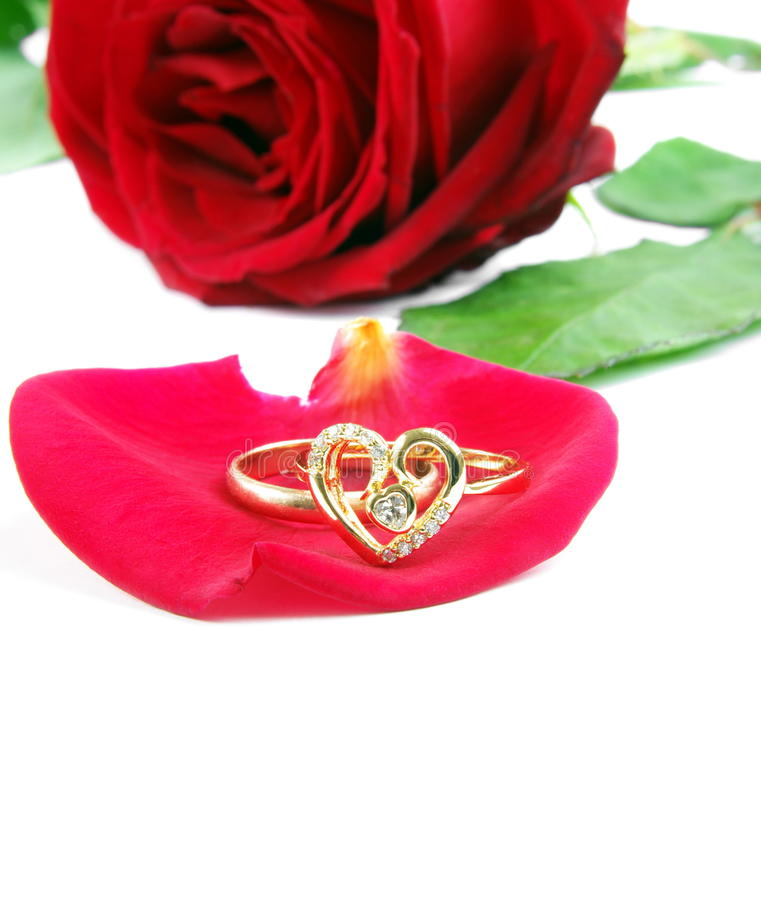 Ring with rose royalty free stock photo