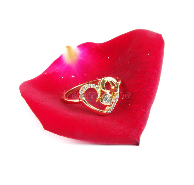 Ring on rose royalty free stock photography