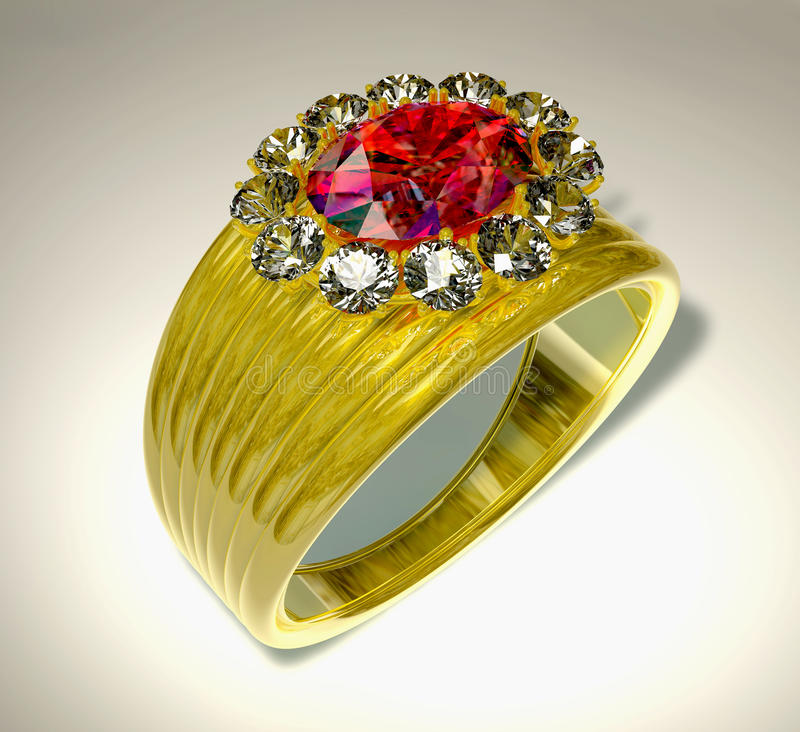 Ring and Ruby. Golden ring with a red ruby at a white background stock illustration