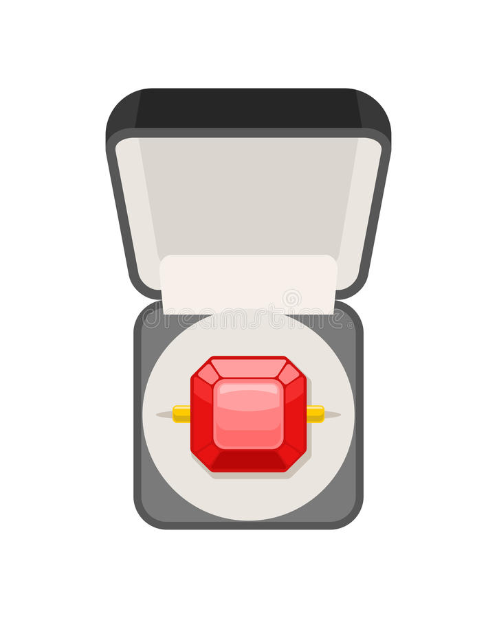 Ring with ruby in box top view. Jewel isolated. expensive jewelry vector illustration