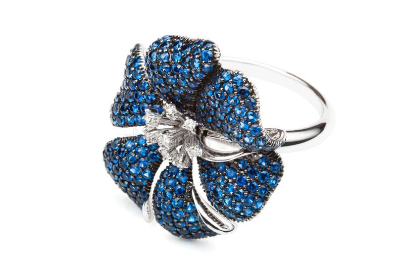 Ring with sapphires royalty free stock photo