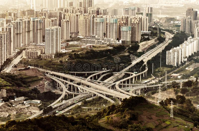 Ring-shaped overpass in Chongqing, China. The most complicated viaduct in Chongqing, China royalty free stock images