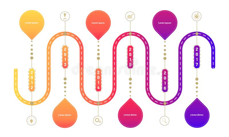 Ring side highway roadmap timeline elements with markpoint graph think search gear target icons. vector illustration eps10. Ring side highway roadmap timeline royalty free illustration