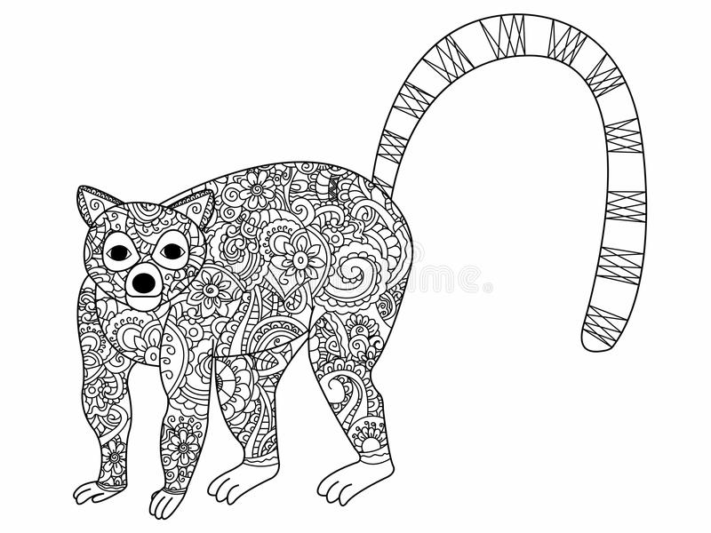 Ring tailed lemur coloring vector for adults stock vector for Ring tailed lemur coloring pages