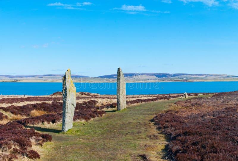 Ring van Brodgar, het Eiland van Orkney stock foto