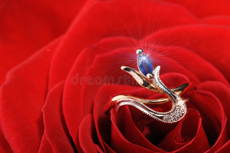 Ring van de fonkeling in een rood nam toe royalty-vrije stock fotografie