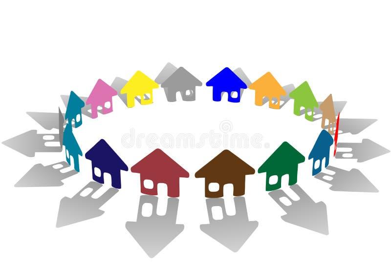 Ring van helder gekleurde huissymbolen stock illustratie
