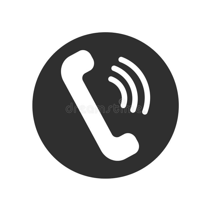 Ringa det symbolsvektortecknet och symbolet som isoleras på vit bakgrund, telefonlogobegrepp stock illustrationer