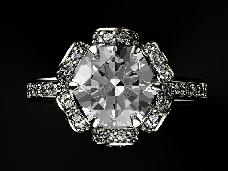 Ringa med diamanten för tygguld för bakgrund svart silver för smycken royaltyfria bilder
