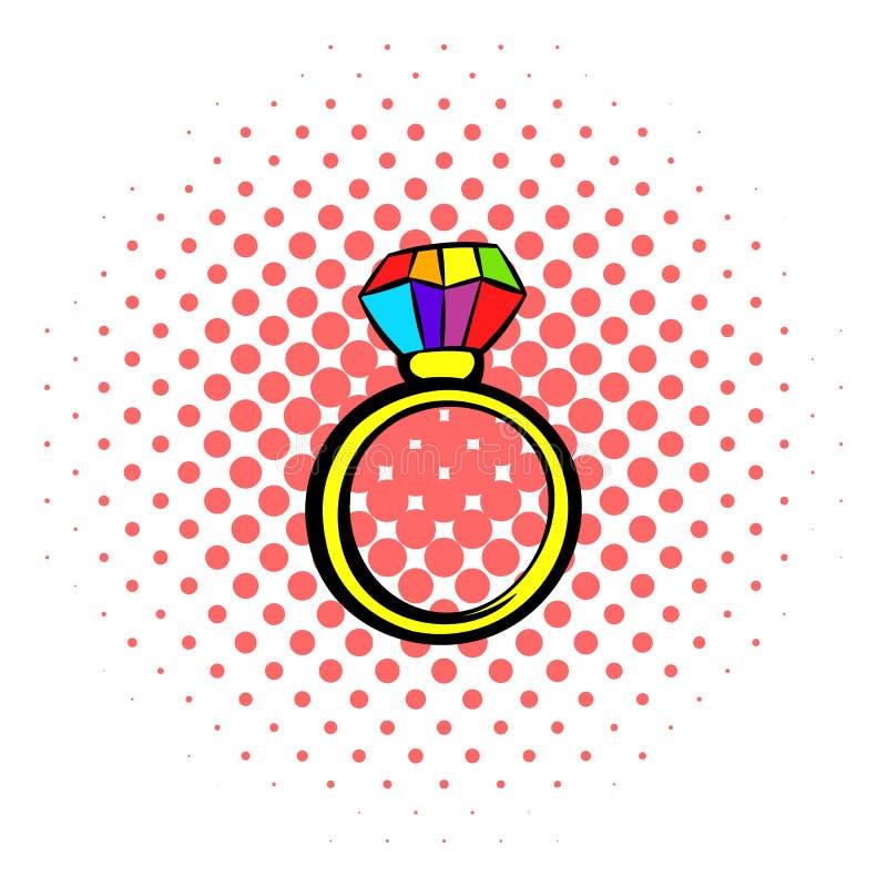 Ringa med regnbågediamantsymbolen, komiker utformar royaltyfri illustrationer