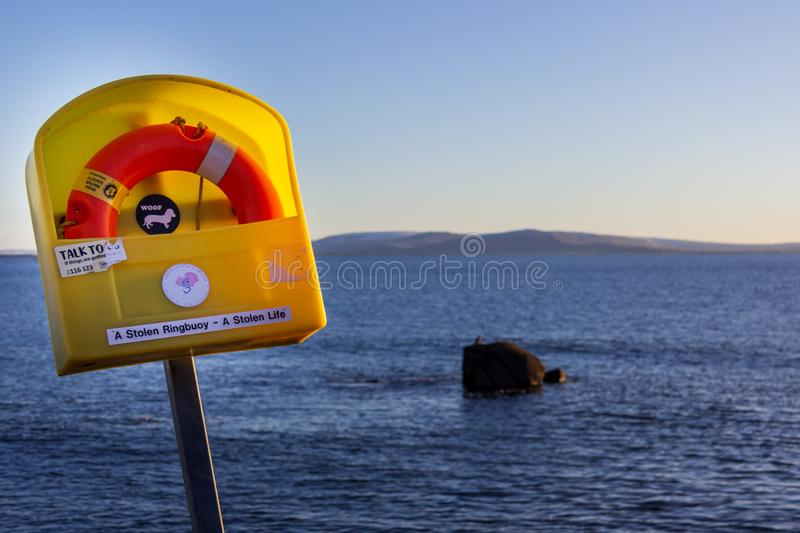 Ringbuoy at Salthill, Galway, Ireland royalty free stock photo