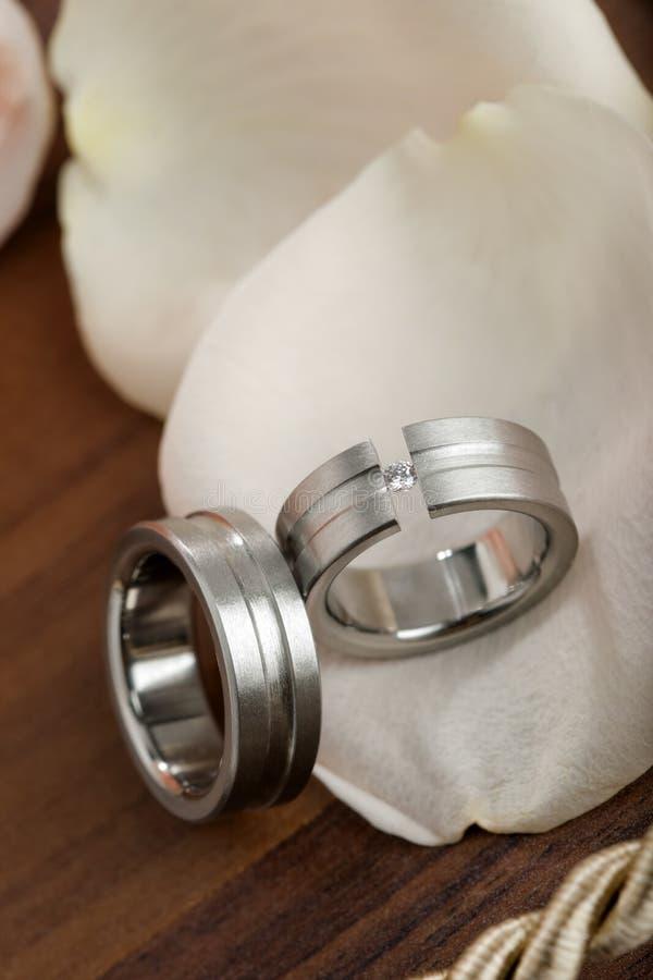 Ringe der silbernen Hochzeit auf rosafarbenen Blumenblättern lizenzfreie stockfotografie