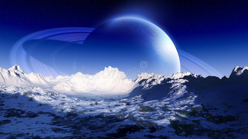Ringed Planet Rise Over Cold Landscape. Cold and unknown alien planet with rings rising on the horizon of a cold distant planet with hazy atmosphere and stars on stock illustration