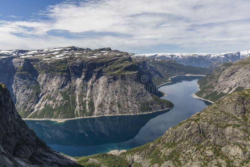 Ringedalsvatnet湖鸟瞰图在挪威 免版税库存照片