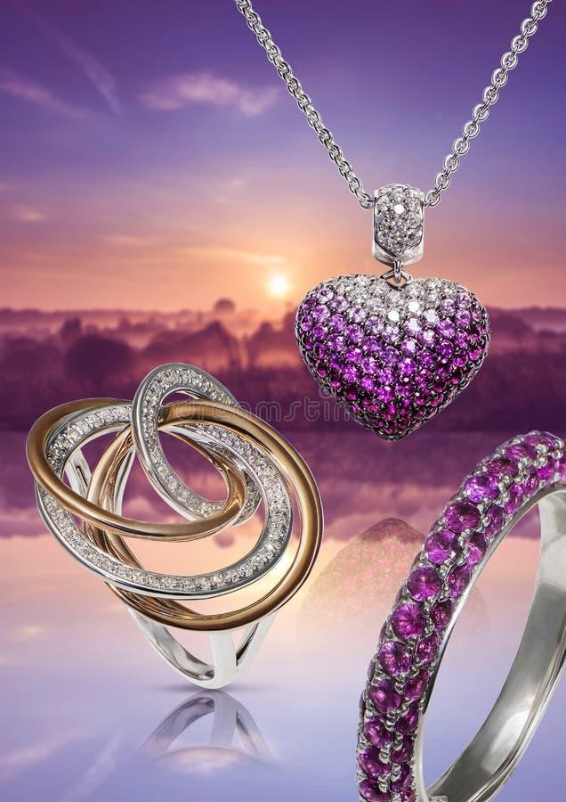 Ringen en tegenhanger met diamanten vector illustratie