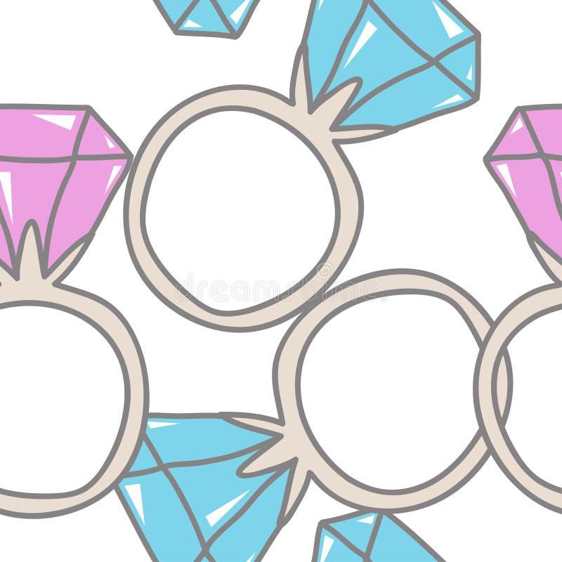 Ringen met Diamanten Krabbel naadloos patroon Vector Illustratio stock illustratie