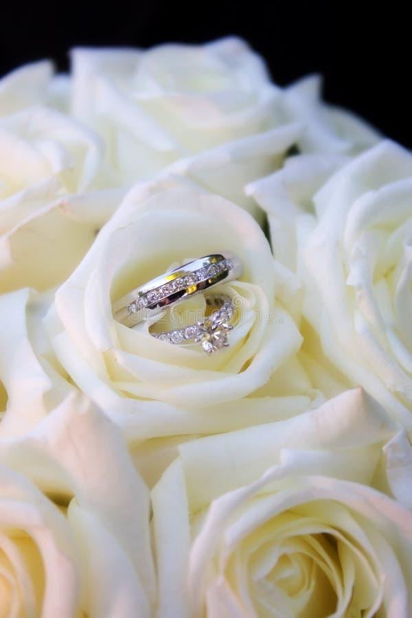 Ringen in witte rozen royalty-vrije stock foto
