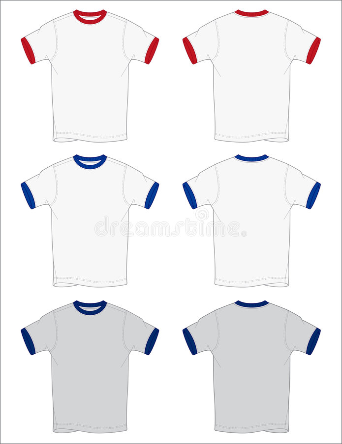 Ringer T-Shirt Outlines Vector. Front and Back views of a ringer t-shirt created in Adobe Illustrator stock illustration