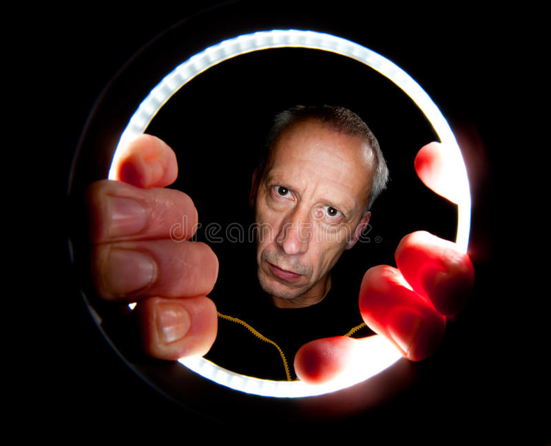 Download Ringflash self portrait stock image. Image of hand, portrait - 25936319