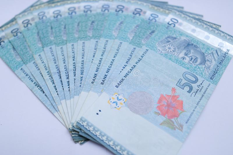 50 ringgits bank note. Ringgit is the national currency of Malaysia stock image