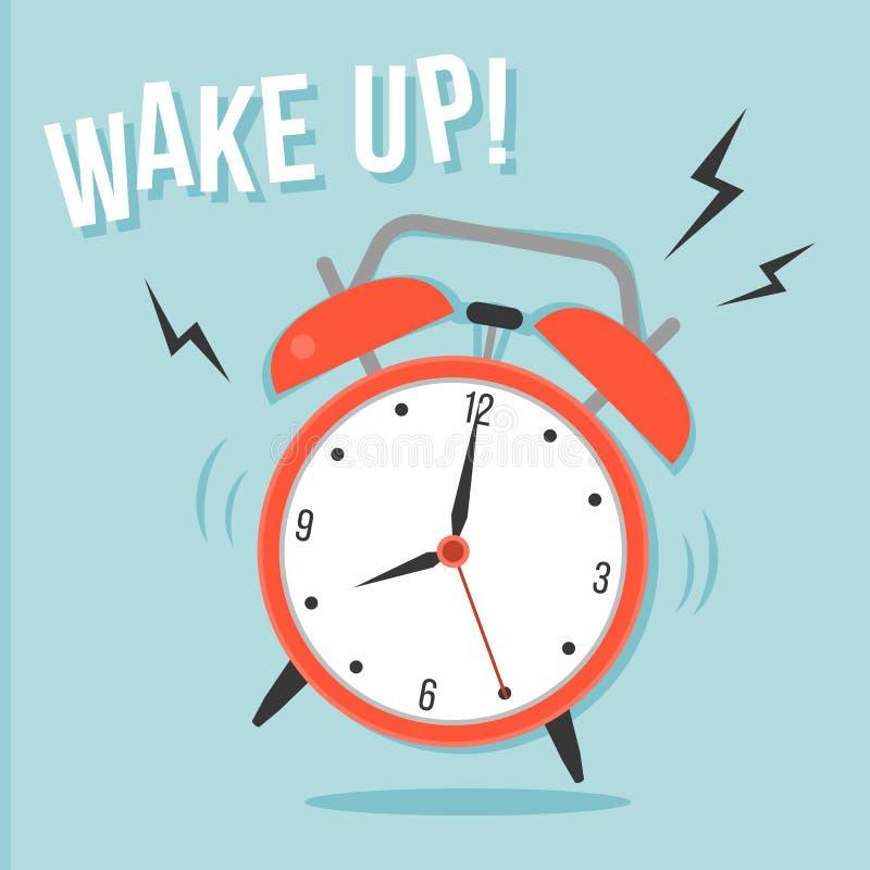 Ringing Alarm clock. And wake up head line ilustration stock illustration