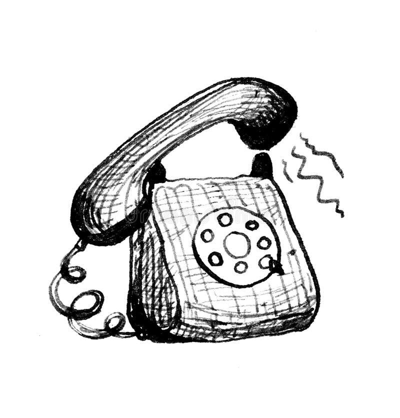 Ringing old fashioned  telephone. stock illustration