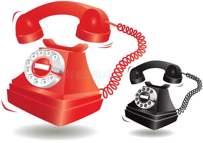 Ringing old fashioned telephone vector illustration