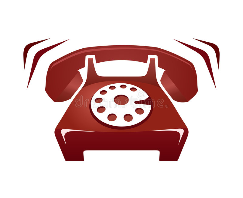 Ringing Phone. Illustration of red ringing phone isolated on white vector illustration