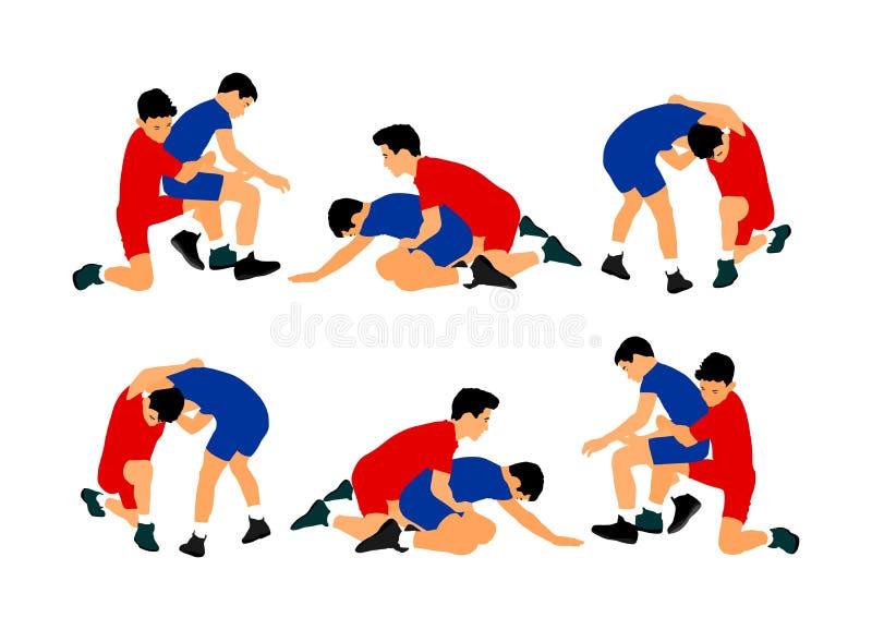 Ringkämpferjungen, welche die Vektorillustration lokalisiert auf weißem Hintergrund wringen Schule von Verteidigungsfähigkeiten G lizenzfreie abbildung