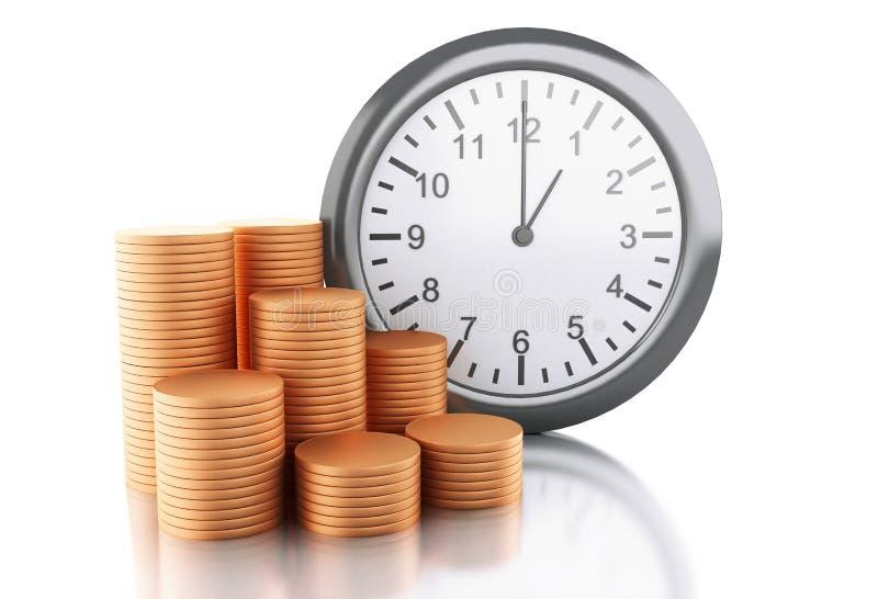 ringklocka 3d med mynt Tid är pengarbegreppet vektor illustrationer