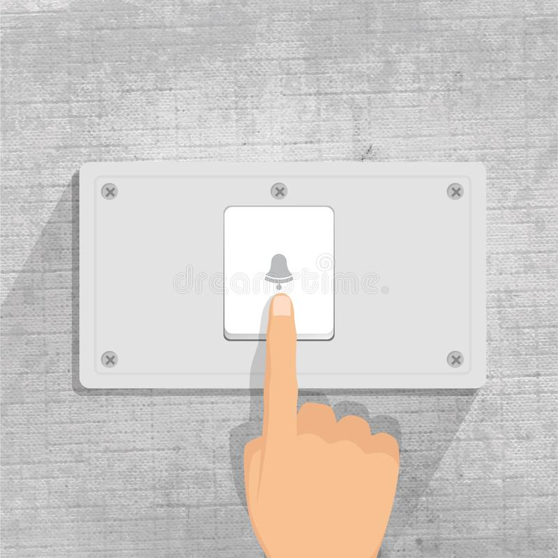 ringklocka finger som trycker på ringklockaknappen i grå bakgrund stock illustrationer