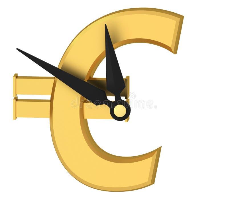 Ringklocka med eurosymbol vektor illustrationer