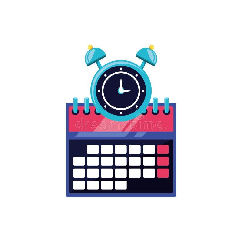 Ringklocka med isolerade symbolen för kalender den påminnelse vektor illustrationer