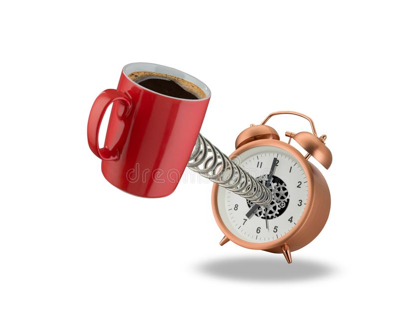 Ringklocka och kopp kaffe royaltyfria bilder
