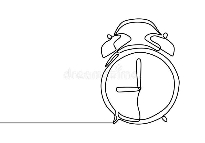 Ringklocka på 9 morgon eller fortlöpande en linje minimalist design för natt för teckning på vit bakgrund stock illustrationer