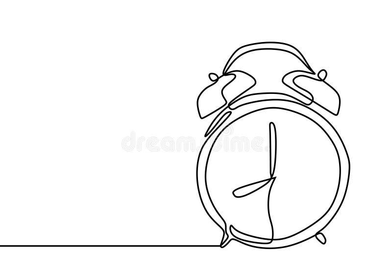 Ringklocka på 8 morgon eller fortlöpande en linje minimalist design för natt för teckning på vit bakgrund stock illustrationer