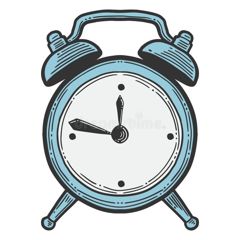 Ringklocka parallella klockor Vektor i klotter och att skissa stil stock illustrationer
