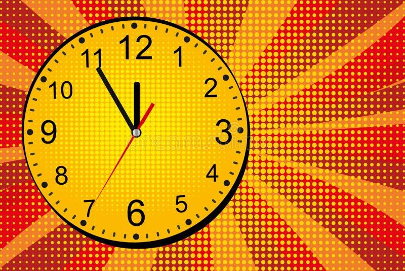 Ringklockacirkelhumorbok Retro komiker för popkonst Guling-röd tecknad filmbakgrund vektor royaltyfri illustrationer