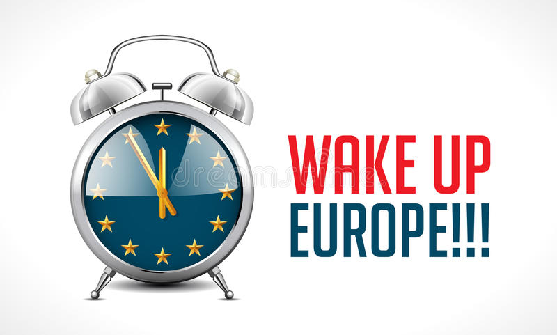 Ringklockan med EU-flaggan - vakna upp det Europa begreppet royaltyfri illustrationer
