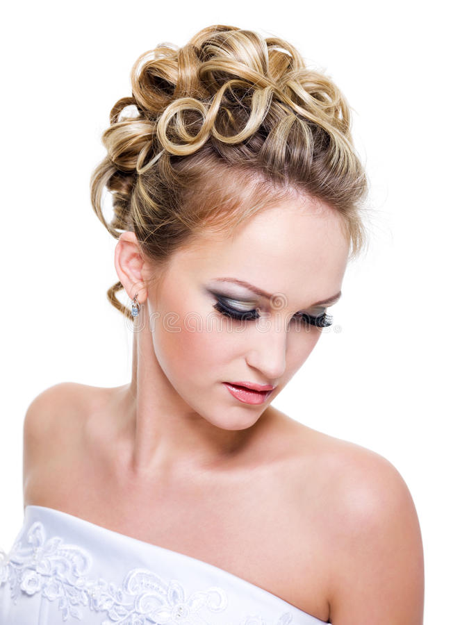 Ringlet wedding hairstyle royalty free stock photography