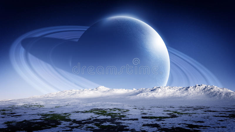 Ringed Planet Rising On Ice Landscape Horizon. Cold and unknown alien planet with rings rising on the horizon of a cold distant planet with hazy atmosphere and royalty free illustration