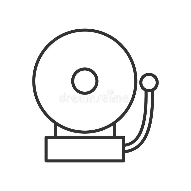 Ringowego szkoła alarma konturu Płaska ikona na bielu ilustracja wektor