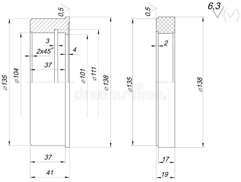 Ringowy nakreślenie z piędziami Inżynieria rysunek ilustracja wektor