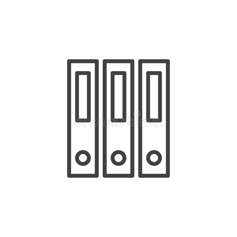 Ringowy segregator, biurowa kartotek falcówek kreskowa ikona, konturu wektoru znak, liniowy stylowy piktogram odizolowywający na  royalty ilustracja