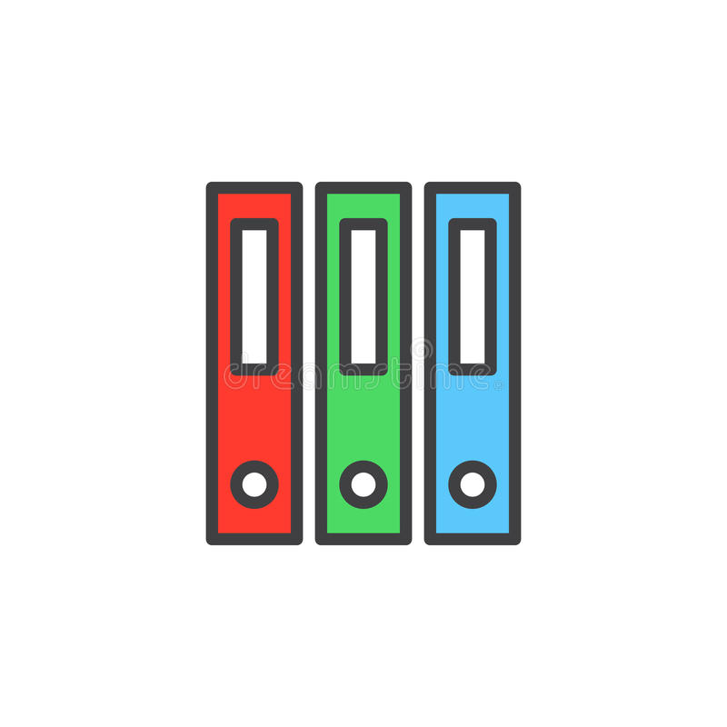 Ringowy segregator, biurowa kartotek falcówek kreskowa ikona, wypełniający konturu wektoru znak, liniowy kolorowy piktogram odizo ilustracja wektor