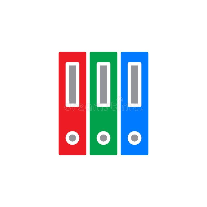 Ringowy segregator, biurowy kartotek falcówek ikony wektor, wypełniający mieszkanie znak, stały kolorowy piktogram odizolowywając ilustracji
