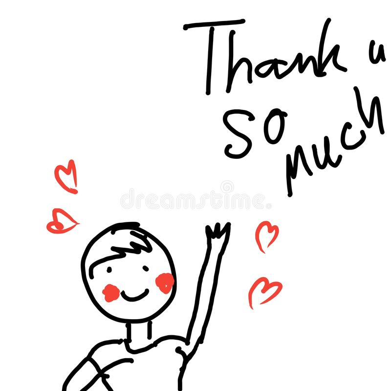 Ringraziamenti di vettore delle illustrazioni del fumetto illustrazione di stock